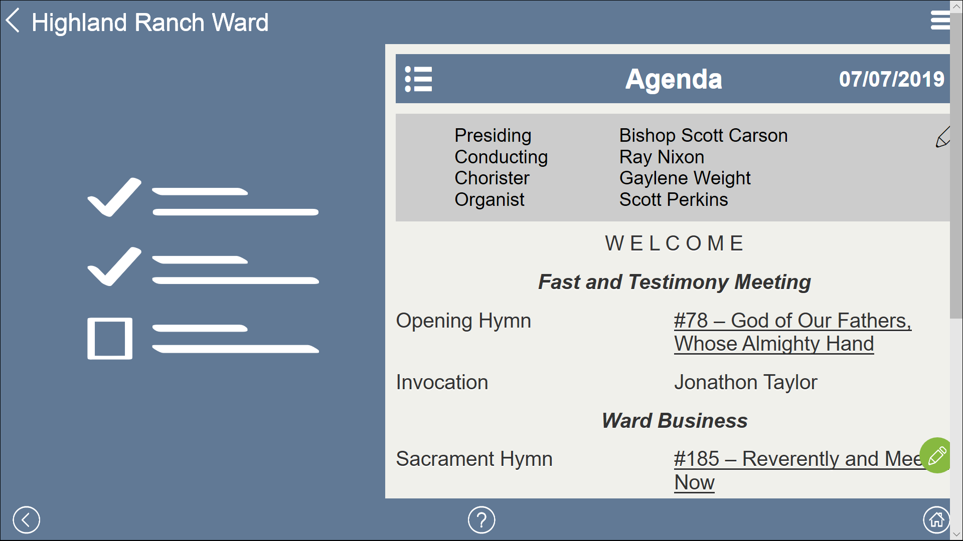 Sacrament Meeting Program Agenda